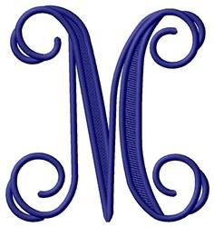 Vining Monogram M embroidery design