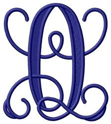 Vining Monogram Q embroidery design