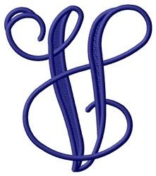 Vining Monogram V embroidery design