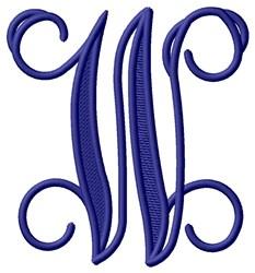 Vining Monogram W embroidery design