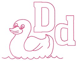 Duck D embroidery design
