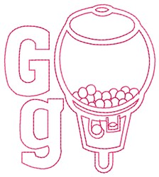 Gumball Machine G embroidery design