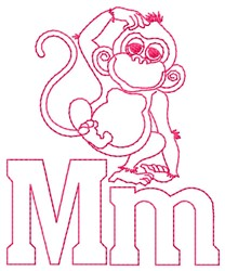 Monkey M embroidery design