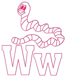 Worm W embroidery design