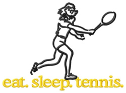 Tennis (Female) embroidery design