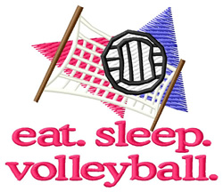 Volleyball (Ball & Net) embroidery design