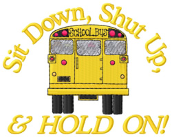 Sit Down embroidery design