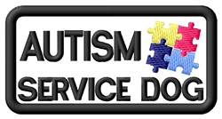 Autism Service Dog Label embroidery design