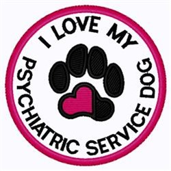 Psychiatric Dog Patch embroidery design