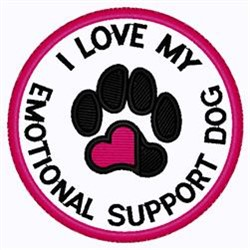 Emotional Support Dog Patch embroidery design