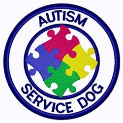 Autism Service Dog Patch embroidery design
