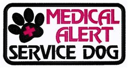 Medical Alert Dog Patch embroidery design