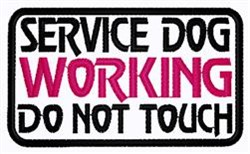 Service Dog Working Patch embroidery design