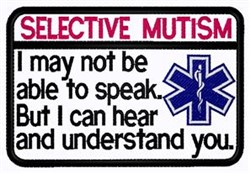 Selective Mutism Patch embroidery design