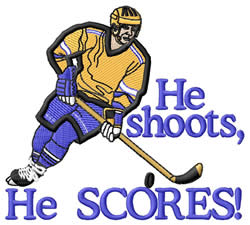 He Shoots He Scores embroidery design