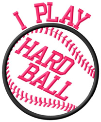 Playing Hard Ball embroidery design