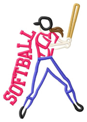 Softball Batter embroidery design