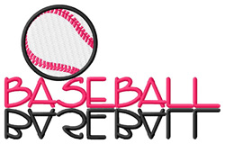 Baseball Text with Ball embroidery design