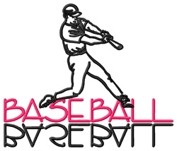 Baseball Text with  Player embroidery design