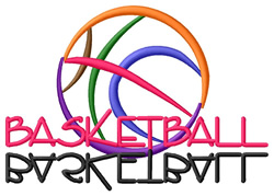 Basketball Text with Ball embroidery design
