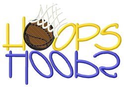 Hoops Text with  Ball embroidery design
