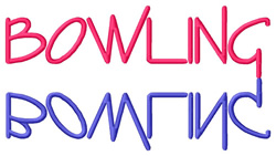Bowling Text embroidery design
