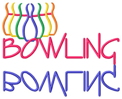 Bowling Text with  Pins embroidery design