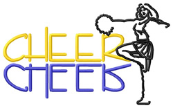 Cheer Text with Cheerleader embroidery design