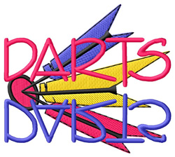 Darts Text with Bullseye embroidery design