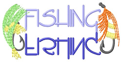 Fishing Text with Lures embroidery design