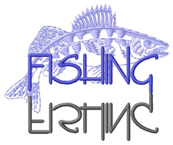 Fishing Text with Walleye embroidery design