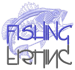 Fishing Text with Bass embroidery design