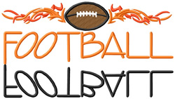 Football Text with Flames embroidery design