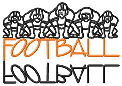 Football Text with Players embroidery design