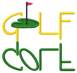 Golf Text with Green embroidery design