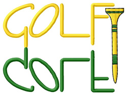 Golf Text with Tee embroidery design