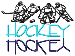 Hockey Text with Players embroidery design