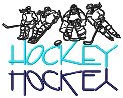 Hockey Text with Female Players embroidery design