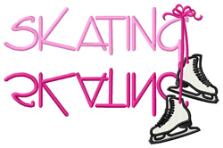 Skating Text with Skates embroidery design