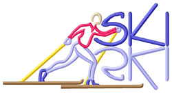 Ski Text with Cross Country Skier embroidery design