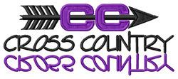 Cross Country Text with Logo embroidery design