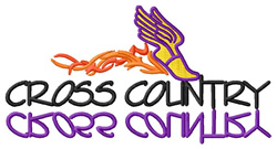 Cross Country Text with Winged Foot embroidery design