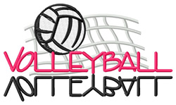 Volleyball Text with Net embroidery design