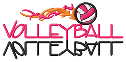 Volleyball Text with Flames embroidery design