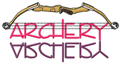Archery Text with Bow embroidery design