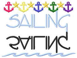 Sailing Text with Anchors embroidery design