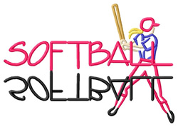 Softball Text with Player embroidery design