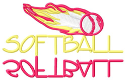 Softball Text with Flames embroidery design