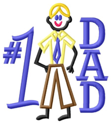 Number One Dad embroidery design