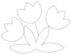 Tulip Trio Outline embroidery design